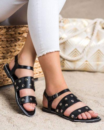 Czarne sandały casual z eko skóry Goodin