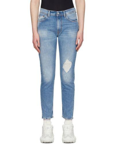 Zawężony skórzany niebieski obcisłe dżinsy z kieszeniami Acne Studios