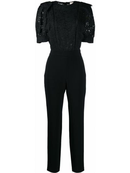 Черный нейлоновый комбинезон с вышивкой с вырезом Michael Kors