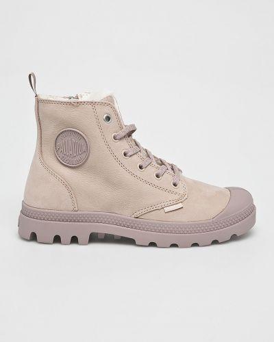Кожаные сапоги на каблуке на шнуровке Palladium