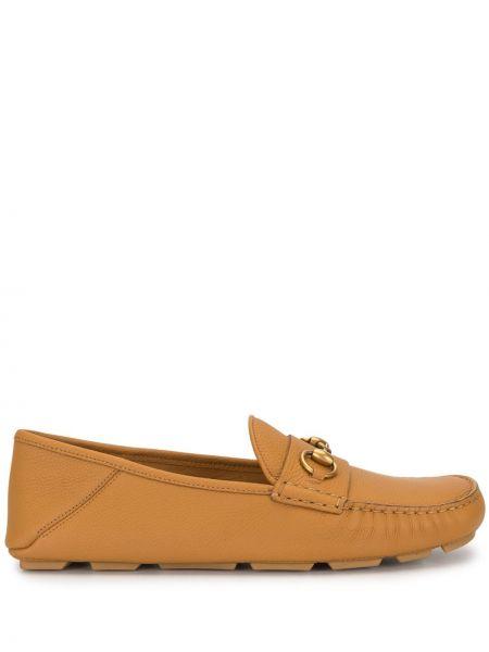 Żółty loafers na pięcie z prawdziwej skóry okrągły Gucci