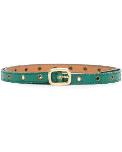 Зеленый кожаный тонкий ремень винтажный Hermès
