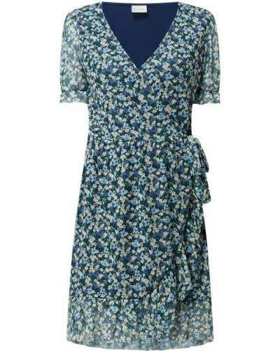 Niebieska sukienka mini kopertowa z falbanami Vila