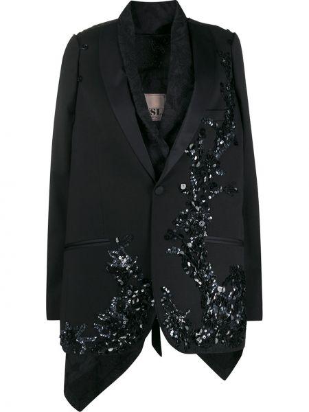 Черная куртка с пайетками с драпировкой с лацканами Antonio Marras