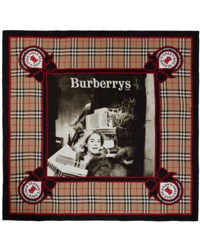 Jedwab beżowy szalik plac w paski Burberry