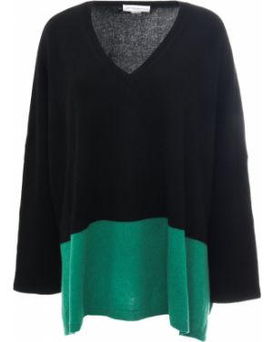Зеленый шелковый свитер с V-образным вырезом свободного кроя Amanda Wakeley