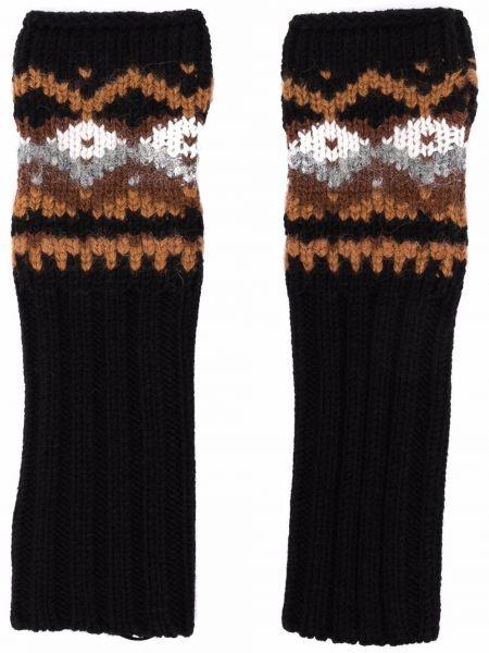 Rękawiczki bez palców wełniane - czarne Ermanno Scervino