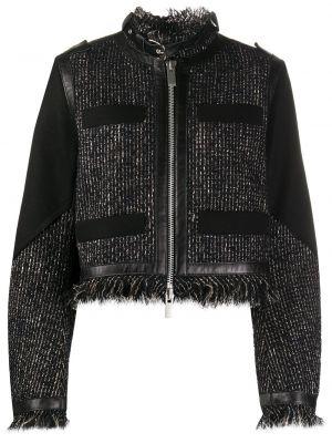 Черный пиджак твидовый с воротником Sacai
