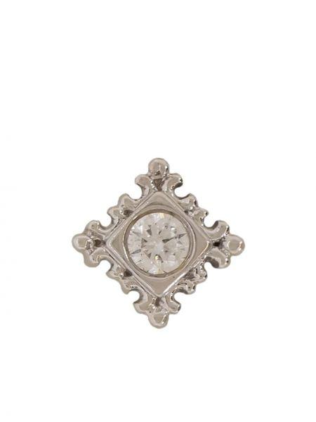 Białe złote kolczyki ze złota z diamentem Bvla