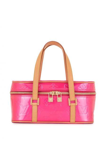 Розовая кожаная сумка-тоут винтажная Louis Vuitton