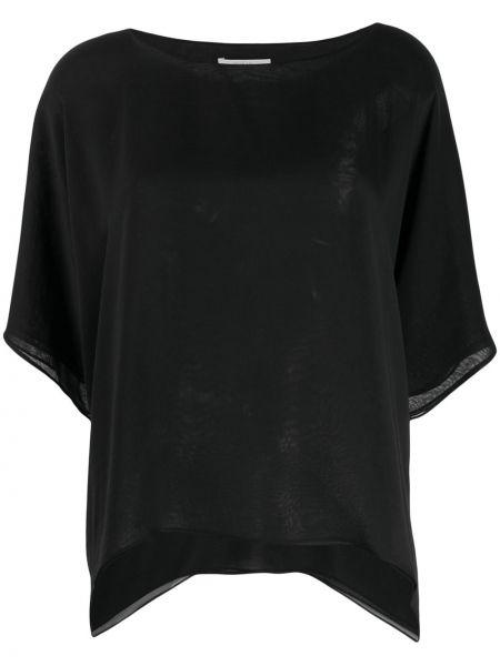 Czarna bluzka krótki rękaw z jedwabiu Dusan