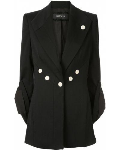 Прямой черный удлиненный пиджак с карманами Kitx