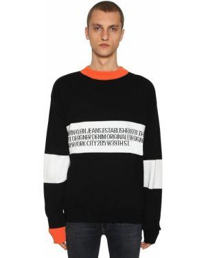 Prążkowany biały sweter bawełniany Calvin Klein Established 1978