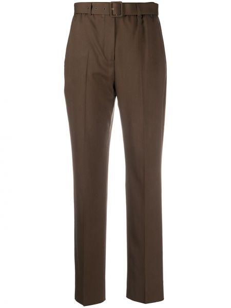 Шерстяные коричневые брюки с поясом с высокой посадкой Agnona
