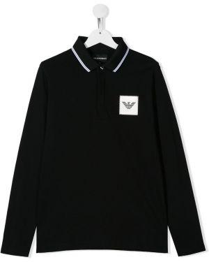 Рубашка черная в рубчик Emporio Armani Kids