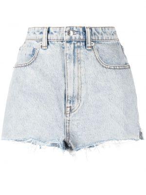 Джинсовые шорты с бахромой - синие Alexander Wang