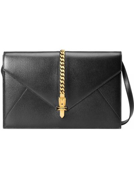 Skórzany czarny torebka na łańcuszku z kieszeniami z klamrą Gucci