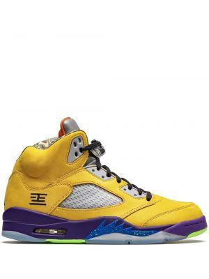 Желтые кожаные кроссовки на шнурках Jordan