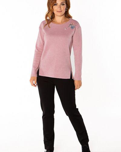 Блузка с длинным рукавом розовая с брошью Virgi Style