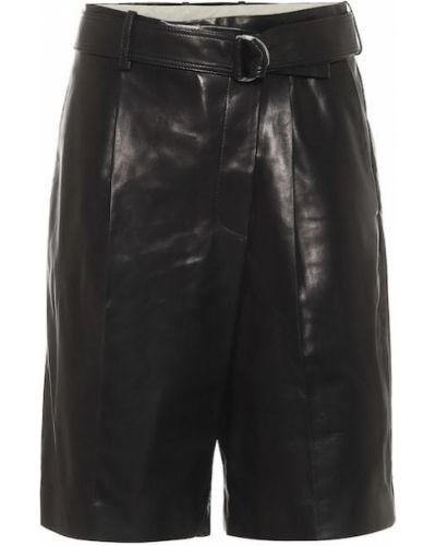 Черные кожаные шорты Helmut Lang