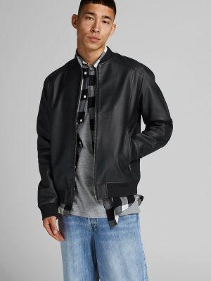 Кожаная куртка - черная Jack & Jones