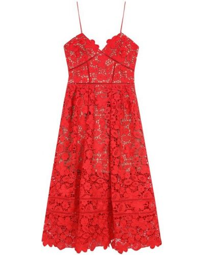 Платье миди с цветочным принтом с открытой спиной Self-portrait