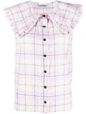 Fioletowa koszula bawełniana bez rękawów Ganni
