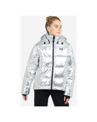 Серебряная пуховая куртка с капюшоном Fila