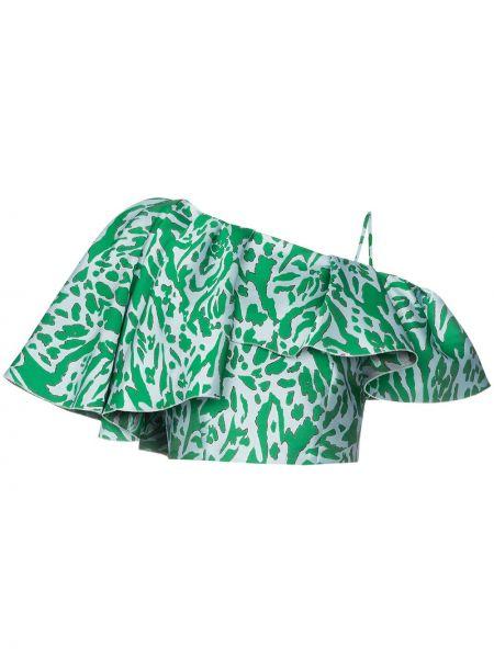 Зеленый топ из вискозы с декоративной отделкой на одно плечо Vika Gazinskaya