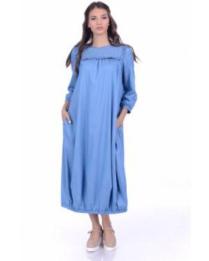 Джинсовое платье в стиле бохо со складками Lautus