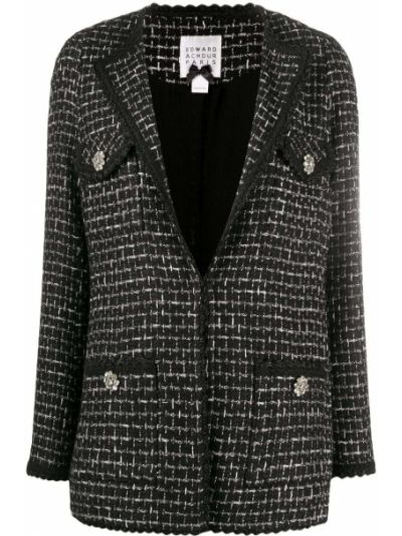 Черный пиджак с карманами букле на пуговицах Edward Achour Paris