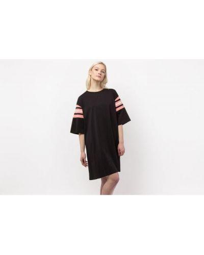 Czarna sukienka w paski z haftem Fila
