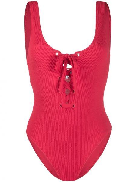 Красный купальник на шнуровке Ganni