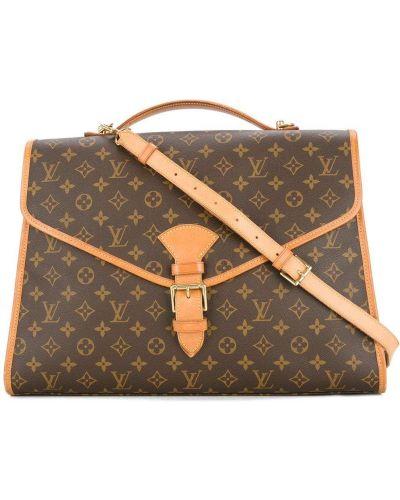 Skórzany brązowy teczka z kieszeniami wytłoczony Louis Vuitton