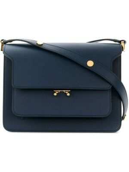 Синяя с ремешком кожаная маленькая сумка Marni