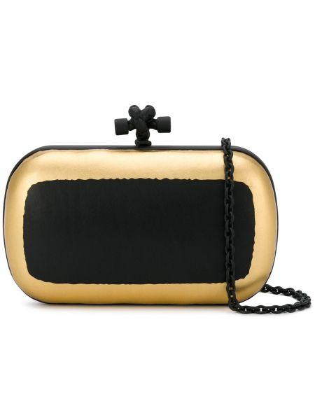 Золотистая черная сумка на цепочке металлическая с подкладкой Bottega Veneta Pre-owned