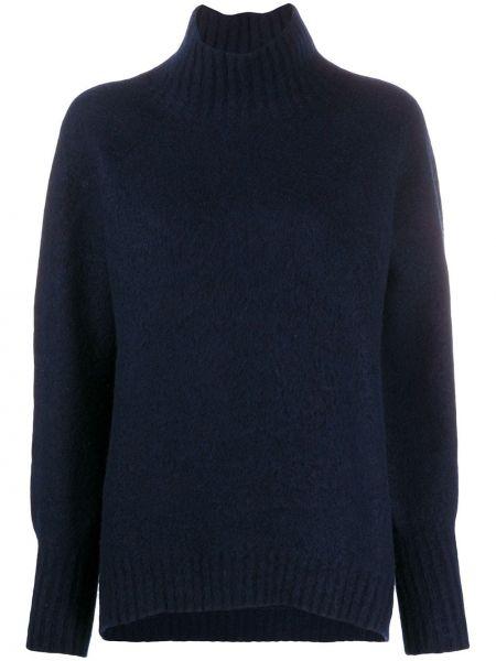 Вязаный синий свитер с рукавом реглан в рубчик Drumohr