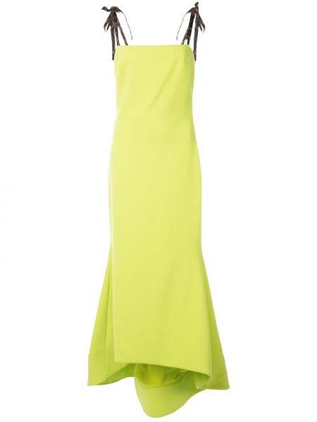 Шелковое асимметричное платье макси с вырезом на молнии Christian Siriano