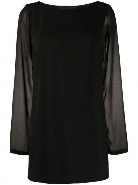 С рукавами черная блузка с длинным рукавом прозрачная с вырезом Talbot Runhof