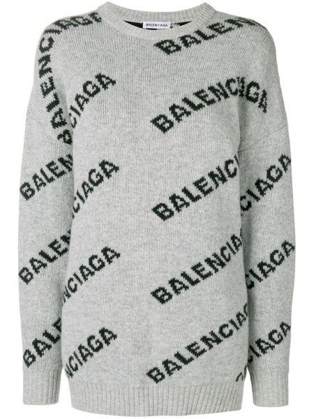 Sweter przeoczenie trykotowy żakard Balenciaga