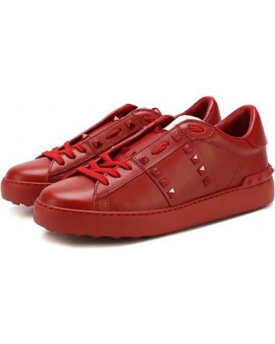Красные кожаные кеды Valentino