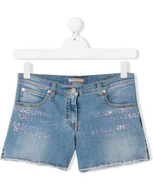 Синие джинсовые шорты Ermanno Scervino Junior