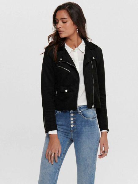 Черная кожаная куртка Only