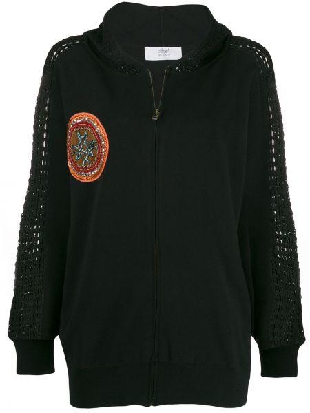 Черная куртка с капюшоном с вышивкой на молнии с карманами Mr & Mrs Italy