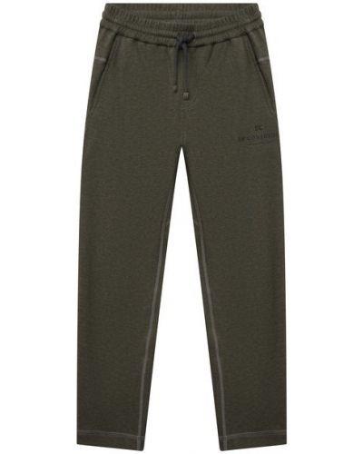 Хлопковые зеленые брюки Brunello Cucinelli
