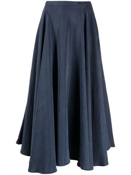 С завышенной талией синяя плиссированная юбка миди Lardini