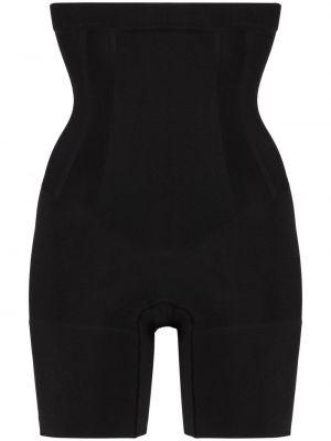 Однобортные нейлоновые облегающие черные шорты Spanx