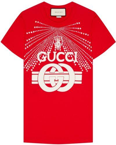 Футболка с логотипом красный Gucci