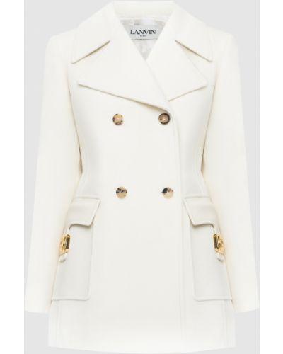 Шерстяное бежевое пальто Lanvin