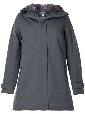 Серое пальто классическое с капюшоном из искусственного меха Save The Duck
